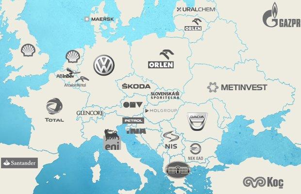 Mapa największych firm w Europie