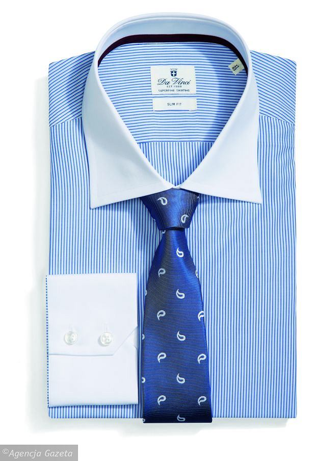 Koszula męska Da Vinci, bawełna. Cena: 299 zł. Krawat Recman, poliester, 45 zł