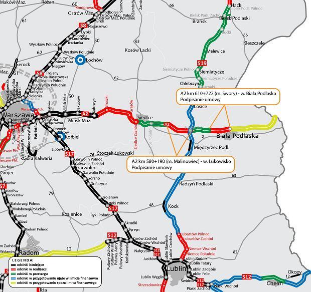 Aktualna mapa stanu budowy A2