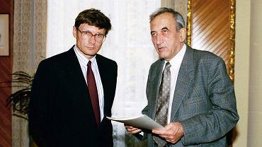 Leszek Balcerowicz i Tadeusz Mazowiecki, 1990 r.