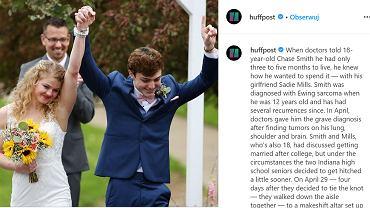 Śmiertelnie chory nastolatek poślubił swoją szkolną miłość. 'Wiedziałem, że chcę ją poślubić zanim rak powróci'