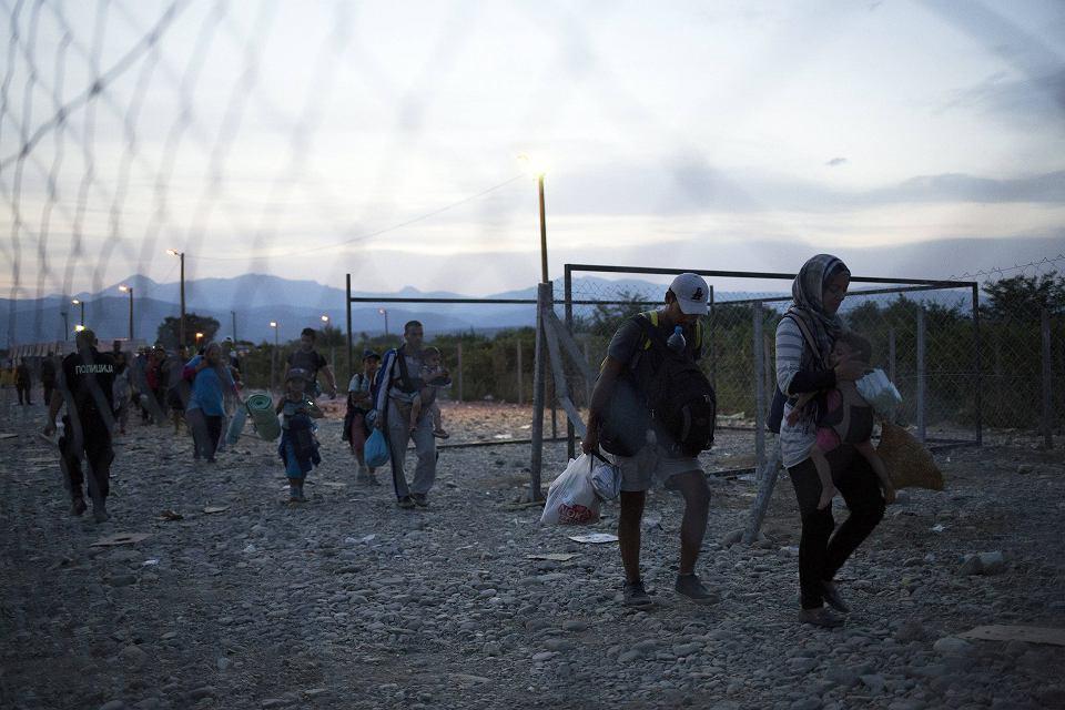 Migranci przekraczający granice macedońsko grecką