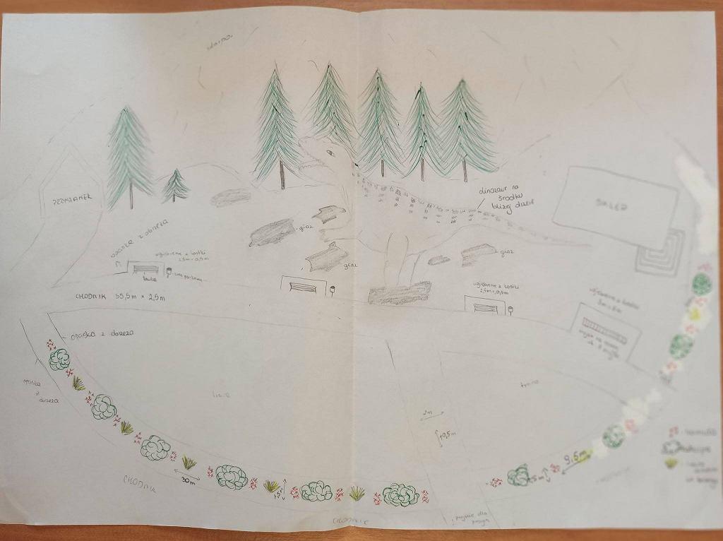 Plan rewitalizacji skwerku w Bałtowie