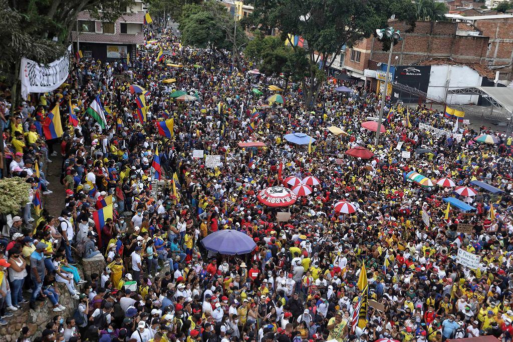 Cali, Kolumbia. Antyrządowe protesty.