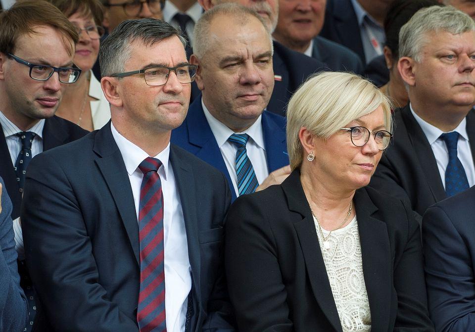 Ambasador RP w Berlinie Andrzej Przyłębski oraz jego żona Julia Przyłębska, prezes Trybunału Konstytucyjnego, podczas uroczystości odsłonięcia pomnika prezydenta Lecha Kaczyńskiego w Szczecinie, 16 czerwca 2018 r.