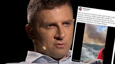 Przerażające nagranie Mateusza Borka. Dziennikarz uciekał przed pożarem! [WIDEO]