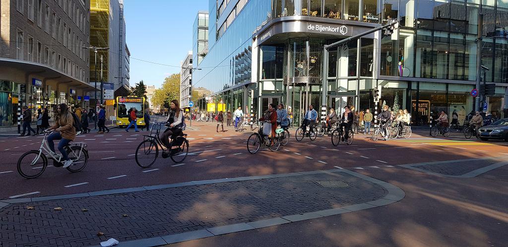 Główna ulica Utrechtu Vredenburg. Dziennie korzysta z niej 34 tys. rowerzystów. To najruchliwsze pod tym względem miejsce w Holandii