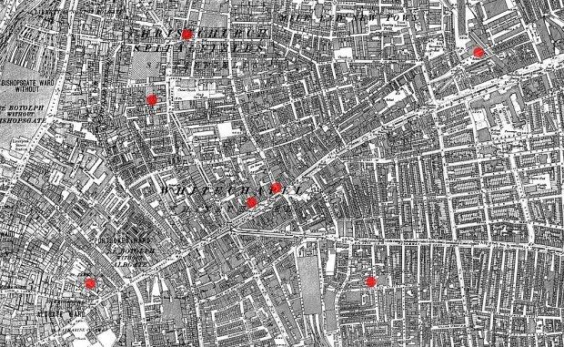 Mapa Londynu z 1894 roku z zaznaczonymi pierwszymi siedmioma ofiarami Kuby Rozpruwacza