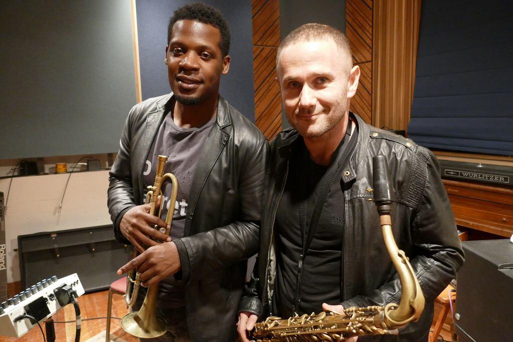 Keyon Harrold i Sylwester Ostrowski w studio nagraniowym Brooklyn Recording / Anna Giniewska