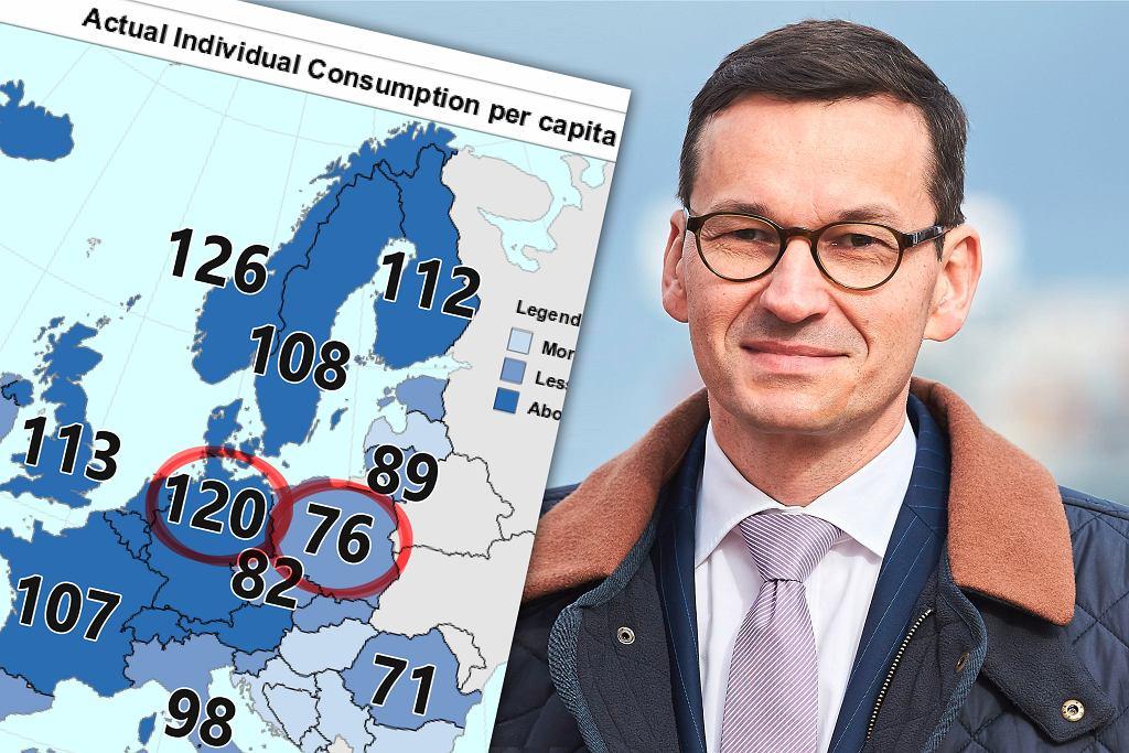 Polska na tle innych kraju w rankingu rzeczywistej konsumpcji prywatnej. Dane za rok 2018. Eurostat.