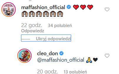 Komentarze na Instagramie Cleo