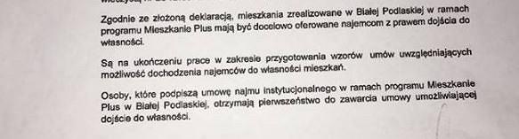Oświadczenie, w którym mieszkańcy zostali poinformowania o tym, że warunki najmu z dojściem do własności zostaną im przedstawione w późniejszym terminie.