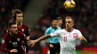 Kamil Grosicki podczas meczu eliminacji Mistrzostw Europy Polska - Łotwa