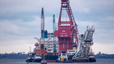 Nord Stream 2. Na zdjęciu rosyjska jednostka wykorzystywana do budowy gazociągu. Port w Wismar, Niemcy, 14 stycznia 2021.