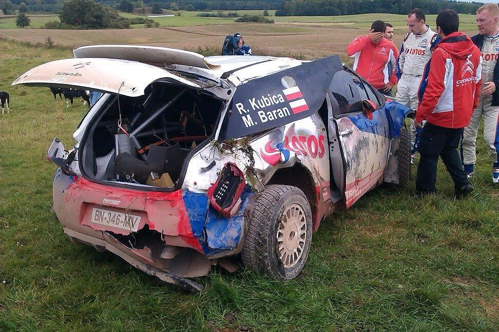 Robert Kubica dachował podczas testów przed Rajdem Polski