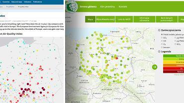 Mapa zanieczyszczeń powietrza w Polsce, z lewej wg Komisji Europejskiej, z prawej wg polskiej Inspekcji Ochrony Środowiska.