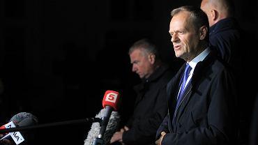 Donald Tusk po wyjściu z prokuratury,  19.04.2017, Warszawa.
