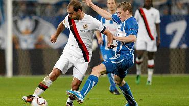 Artjoms Rudnevs w meczu Lech Poznań - Manchester City