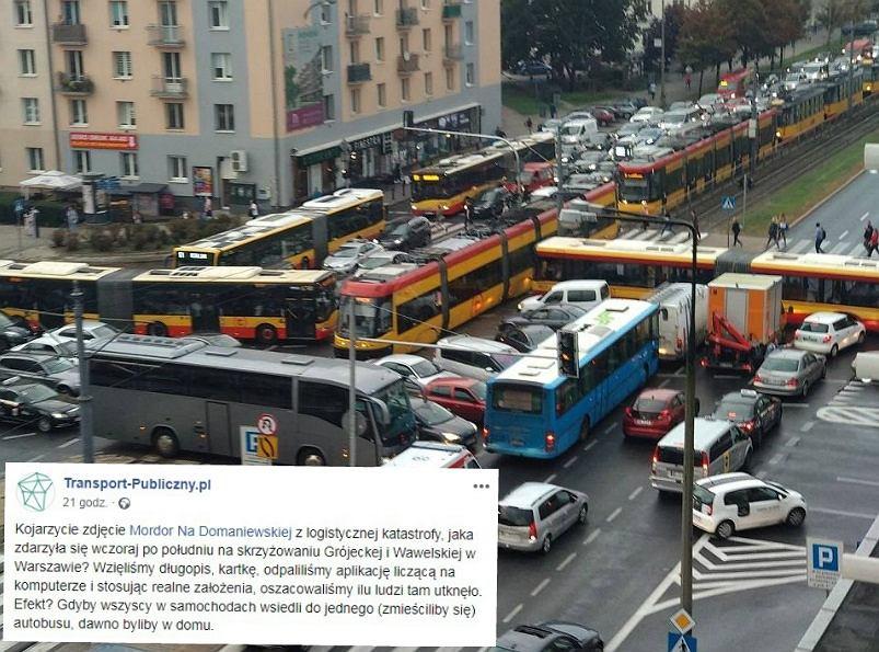 Obliczono, ile osób utknęło na skrzyżowaniu Grójeckiej z Wawelską