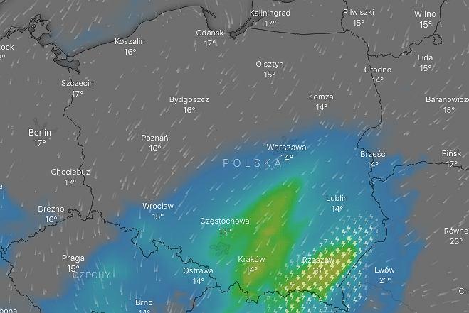 Ostrzeżenia IMGW dla południowej Polski/fot. windy.com