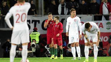 Andre Silva p o zdobyciu bramki w meczu Portugalia - Polska. Guimaraes, 20 listopada 2018