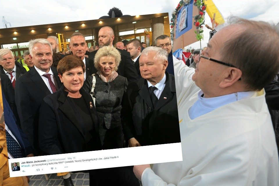 Członkowie rządu i Jarosław Kaczyński na konsekracji świątyni w Toruniu