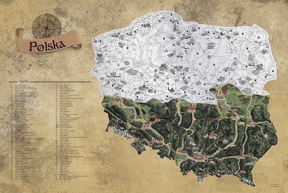 Mapa zdrapka Polski.