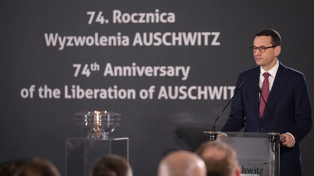 Mateusz Morawiecki podczas 74. rocznicy wyzwolenia obozu Auschwitz-Birkenau