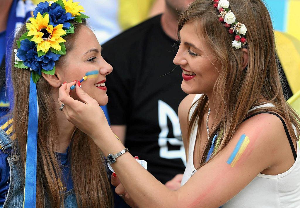 Ukraińskie kibicki na stadionie w Marsylii. Mecz Polska Urkaina na Euro 2016