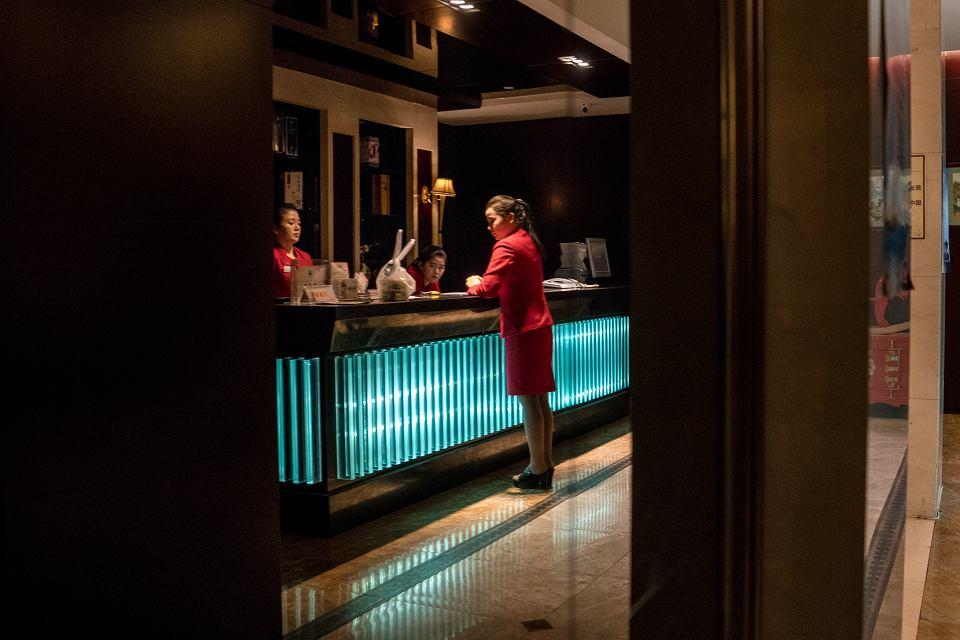 7.01.2018, Shenyang, Chiny, północnokoreańskie pracownice w hotelu Shenyang Chilbosan.