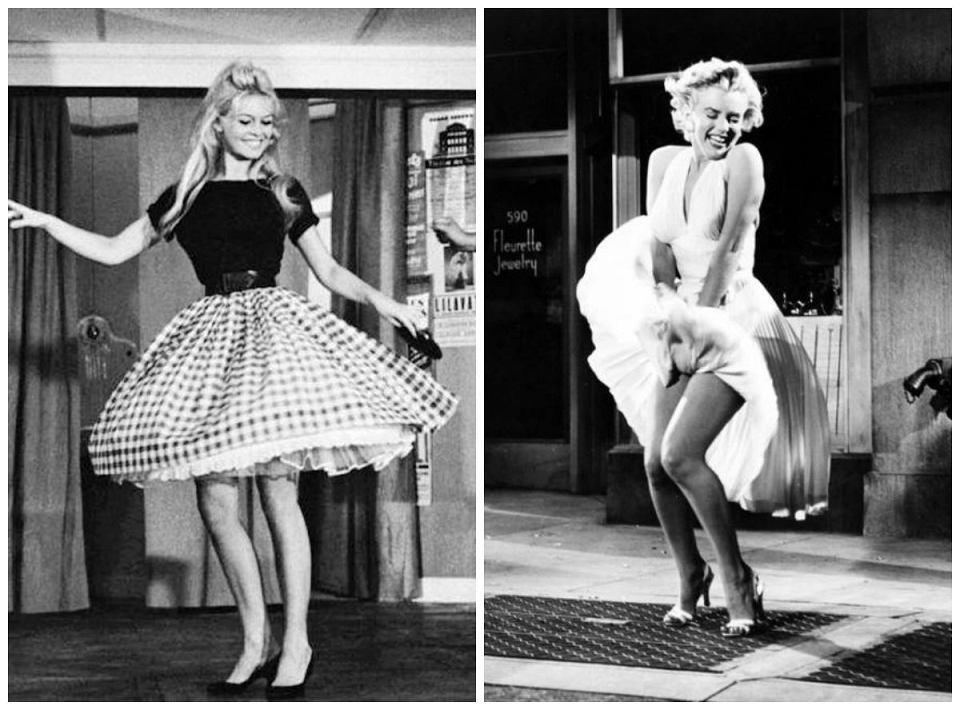 rozkloszowane spódnice lat 50.