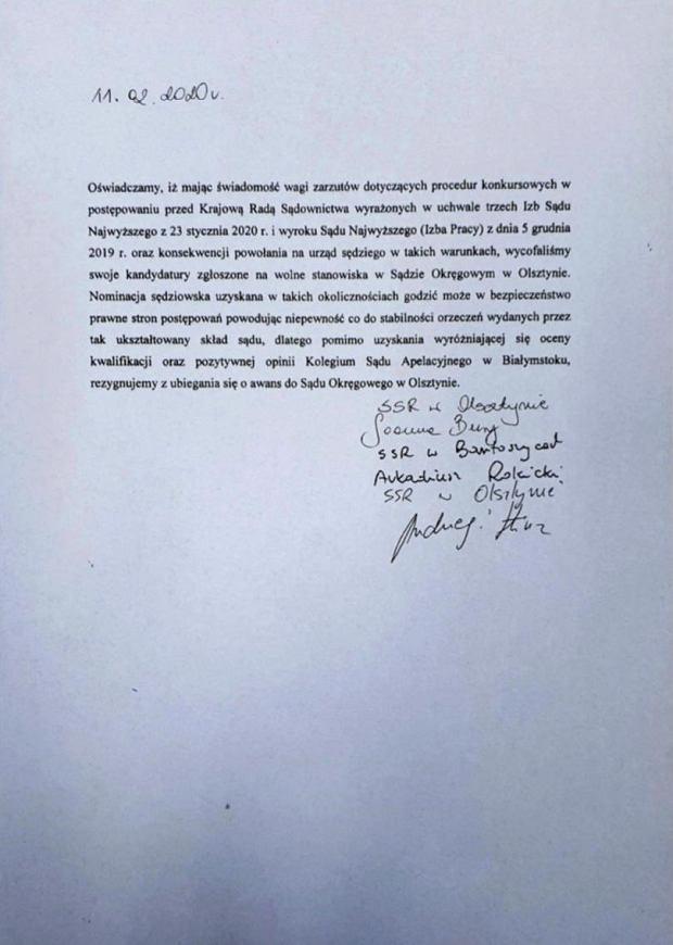 Oświadczenie sędziów z Olsztyna