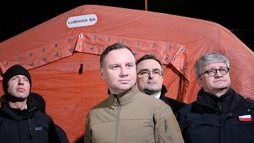 Prezydent Andrzej Duda na przejściu granicznym w Kołbaskowie