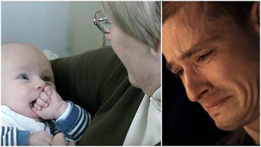 Babcia trzyma wnuka w ramionach, a później....