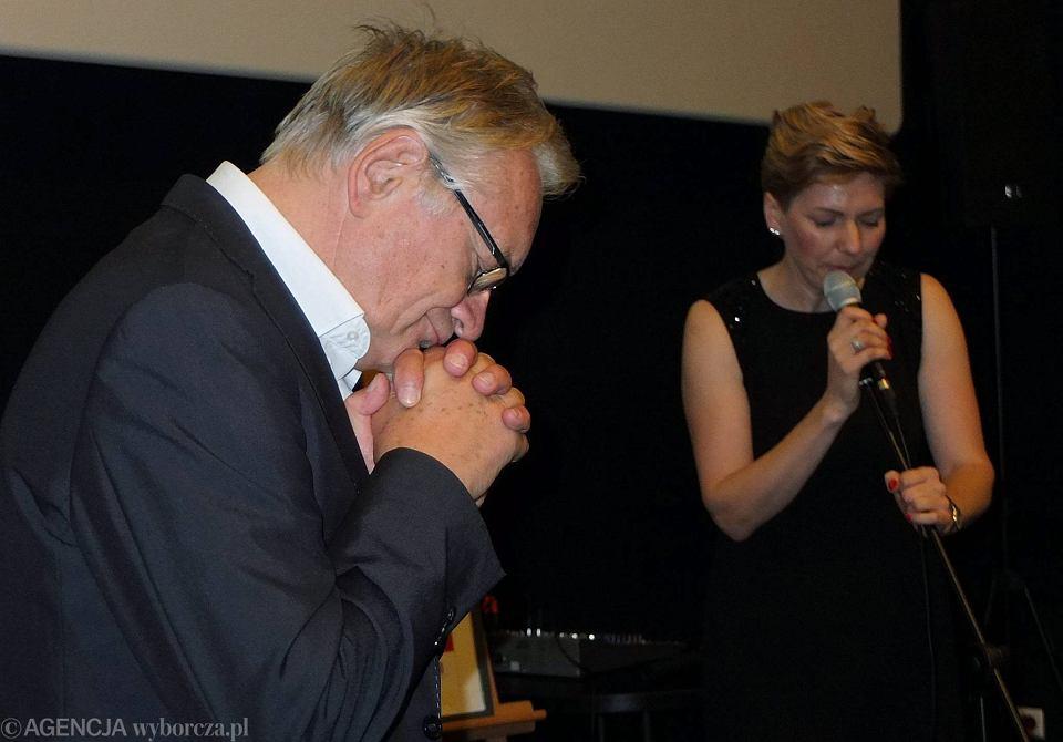 2014 r. Andrzej Seweryn na festiwalu w Płocku. Razem z nim na scenie Renata Nych