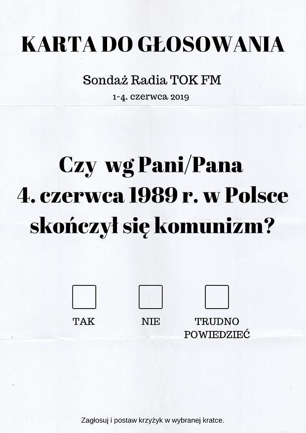 Sondaż radia TOK FM - karta do głosowania