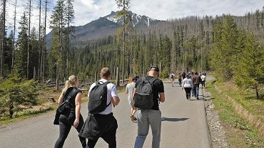 Turyści na szlaku nad Morskie Oko