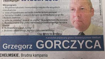 'Program wyborczy' Grzegorza Gorczycy - żart na wybory samorządowe