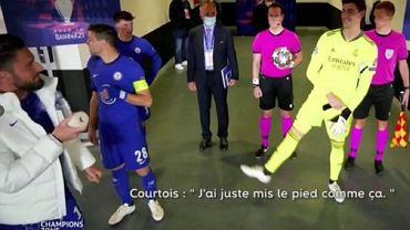 Olivier Giroud i Thibaut Courtois w pogawędce o pudle Timo Wernera. Kamery wychwyciły rozmowę