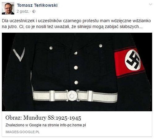 Usunięty wpis Tomasza Terlikowskiego