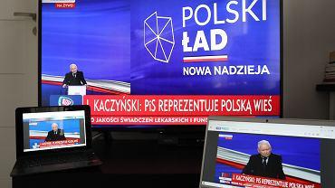 15.05.2021, Warszawa, Jarosław Kaczyński podczas konferencji online prezentującej 'Nowy Ład'