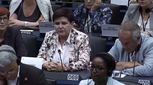 Beata Szydło podczas wystąpienia w Parlamencie Europejskim