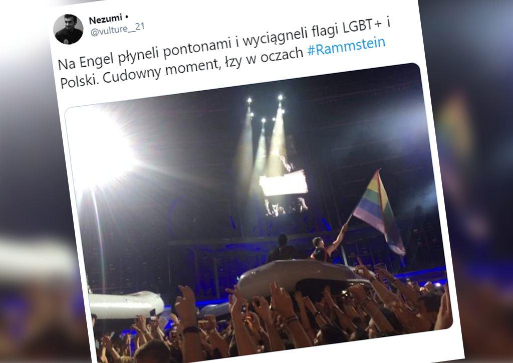 Rammstein solidaryzuje się z osobami LGBT+. Tęczowa i biało-czerwona flaga na koncercie w Chorzowie