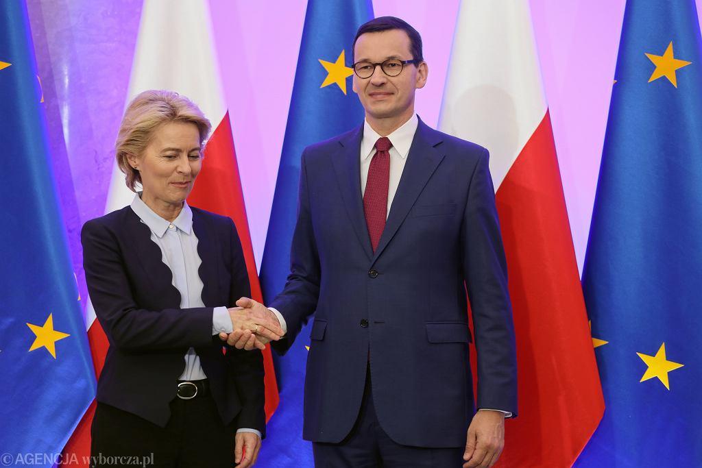 Wizyta Ursuli von der Leyen w Warszawie, spotkanie z Mateuszem Morawieckim
