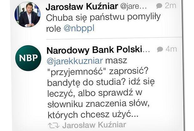 Hitowe szybko stają się też wpisy na Twitterze, jak np. ta wymiana zdań Jarosława Kuźniara i... NBP. Ktoś chyba zapomniał się wylogować.