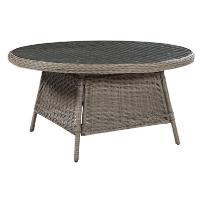 Stół ogrodowy jasnobrązowy - meble ogrodowe - rattan - 150 cm - NAPLES