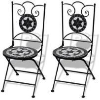 vidaXL Mozaikowe krzesło bistro czarne / biały zestaw 2 szt - sprawdź w wybranym sklepie