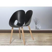 Beliani Krzesło czarne - krzesło do jadalni, do salonu - krzesło kubełkowe - memphis