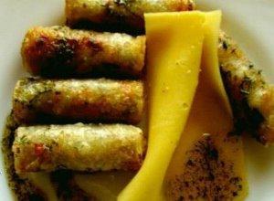 Sajgonki z łososiem serem i grzybami